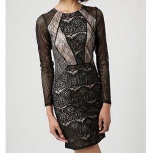TOPSHOP   sz 2 black long sleeve bodycon dress